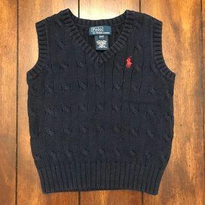 Boys 2T Navy Blue Ralph Lauren Cable Knit Vest